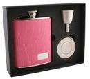 Visol Splendid Pink Leather 6oz Stellar Flask Gift Set
