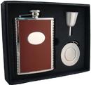 Visol Compton 6oz Brown Leather Stellar Flask Gift Set