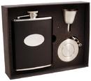 Visol Lance Black Leather Stainless Steel 6oz Stellar Flask Gift Set