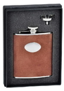Visol Cowboy Brown Leather 6oz Flask Gift Set