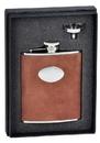 Visol Cowboy Brown Leather 6oz Flask Gift Set