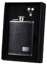Visol Eclipse S Black Leather Flask Gift Set with Stainless Steel Funnel - 6oz