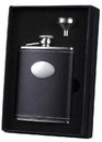 Visol Eclipse 6 oz Black Leather Liquor Flask Gift Set