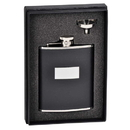 Visol Ontario Black Leather 6oz Flask Gift Set