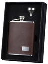Visol Hunter Brown Leather Flask Gift Set with Stainless Steel Funnel - 6oz