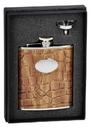 Visol Bronze Brown Crocodile Leather 6oz Flask Gift Set