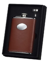 Visol Brown Leather Wrapped 8 oz Stainless Steel Flask Gift Set w/ funnel