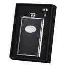 Visol Tux Black Leather Hip Flask Gift Set - 8 oz