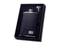 Visol Gator Black Crocodile Leather 8oz Flask Gift Set