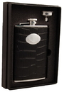 Visol Noir Black Crocodile Leather 8oz Stainless Steel Flask Gift Set