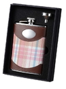 Visol Hannah Pink Plaid and Leather Flask and Funnel Gift Set - 8 oz