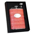 Visol Merveilleux Pink Crocodile Leatherette Hip Flask Gift Set - 8 oz