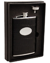 Visol Fantastique Black Crocodile Leatherette Hip Flask Gift Set - 8 oz