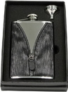 Visol Zipper Black Leatherette Stainless Steel 8oz Flask Gift Set