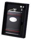 Visol Rouge en Noir Black Leather with Red Accents Flask and Funnel Gift Set - 8 oz