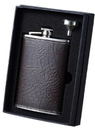 Visol Russell Rustic Brown Leather Flask and Funnel Gift Set - 8 oz