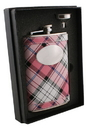 Visol Valor Pink Plaid 8oz Flask Gift Set