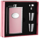 Visol Pink Box Supermodel Pink Leather 8oz Flask Gift Set