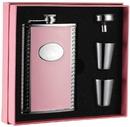 Visol Pink Box Supermodel Pink Leather 8oz Flask Gift Set
