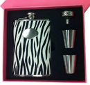 Visol Pink Box Zebra Black & White 8oz Flask Gift Set
