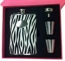Visol Pink Box Zebra Black & White 8oz Flask Gift Set
