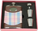 Visol Pink Box Lola Leather & Plaid 8oz Flask Gift Set