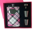 Visol Pink Box Valor Pink Plaid 8oz Flask Gift Set