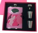 Visol Pink Box GI Jane Pink Camouflage Wrapped 8oz Stainless Steel Flask Gift Set