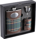 Visol Edinburgh 8oz Plaid Cloth Stainless Steel Deluxe Flask Gift Set