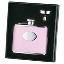 Visol Candy Pink Leather 4oz Flask Gift Set