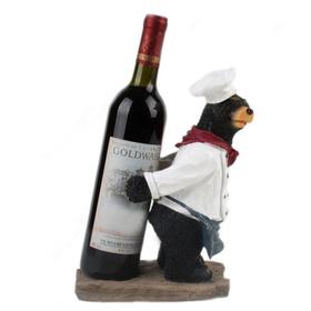 Opentipcom Aspire Black Bear Chef Wine Bottle Holder Decorative