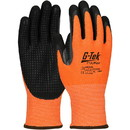 West Chester 16-345OR G-Tek PolyKor Hi-Vis Seamless Knit PolyKor Blended Glove with Double-Dipped Nitrile Coated MicroSurface Grip on Palm & Fingers, Micro Dot Palm and Extended Thumb Crotch