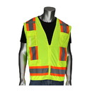 """West Chester 302-0500D PIP ANSI Type R Class 2 Two-Tone Eleven Pocket Surveyors Vest with Solid Front, Mesh Back and """"D"""" Ring Access"""