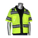 """West Chester 303-0800D PIP ANSI Type R Class 3 Black Two-Tone Eleven Pocket Tech-Ready Mesh Surveyors Vest with """"D"""" Ring Access"""