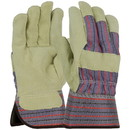 West Chester 500P Select Brushed Pigskin Leather Palm Rubberized Safety Cuff Glove - Blue/Red Fabric