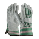 West Chester 500 Shoulder Leather Palm Rubberized Safety Cuff Glove - Green/Pink Fabric