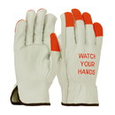 """West Chester 68-165HV PIP Superior Grade Top Grain Cowhide Leather Drivers Glove with Hi-Vis Fingertips and """"WATCH YOUR HANDS"""" Logo - Keystone Thumb"""