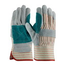 West Chester 85-7512J PIP Economy Grade Split Cowhide Leather Double Palm Glove with Fabric Back - Rubberized Safety Cuff
