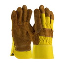 West Chester 85-7513P PIP Economy Grade Split Cowhide Leather Palm Glove with Fabric Back - Rubberized Safety Cuff