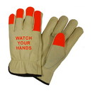 """West Chester 990KOT PIP Regular Grade Top Grain Cowhide Leather Drivers Glove with Hi-Vis Fingertips and """"WATCH YOUR HANDS"""" Logo - Keystone Thumb"""