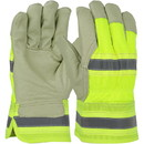 West Chester HVY5555 PIP Pigskin Leather Palm Glove with Hi-Vis Nylon Back and Thermal Lining - Rubberized Safety Cuff