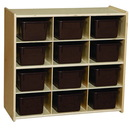 Contender C16122F Baltic Birch 12-Cubby Storage Unit w/Chocolate Tubs-Assembled