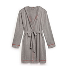 Weddingstar 41057-77 Saturday Hooded Lounge Robe - Gray With Red Stitching Large / X-Large