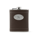 Weddingstar 41068 Custom Brown Leather Wrapped Hip Flask