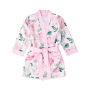 Weddingstar 42002-05 Premium Little Girl Silky Kimono Robe With Pockets - Pink Floral with Pink