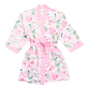 Weddingstar 4517-05 Premium Pink Floral Silky Kimono Robe On Pink With Pockets Large / X-Large