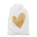Weddingstar 4554-55 Gold Glitter Heart Muslin Drawstring Favor Bag - Medium (12)