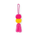 Weddingstar 4652 Small Fabric Pompom Tassel for Beach Tote Bag- Hot Pink and Yellow