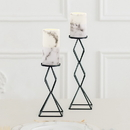 Weddingstar 4924 Artificial Flameless LED Pillar Candle Set of 2 - White Marble