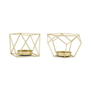 Weddingstar 4928-55 Small Geo Metal Tealight Candle Holder Set of 2 - Gold